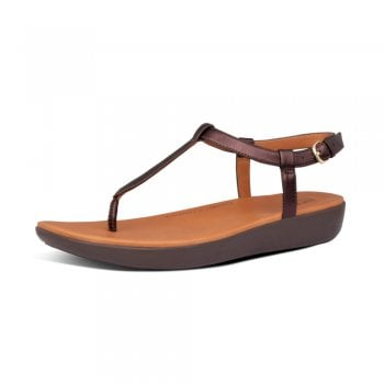 FitFlop™ Fitflop style 'Tia Toe-Thong'  Chocolate brown leather sandal (NT12)