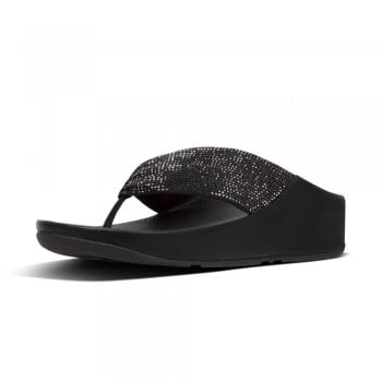 FitFlop™ Fitflop style 'Twiss Crystal' toe post' black sandal