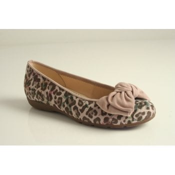 Gabor antique rose printed leather ballerina  (NT83)