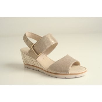 Gabor beige wedge sandal in soft sheen leather  (NT1)