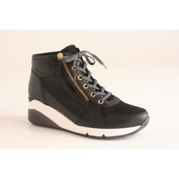 Gabor black leather trainer style ankle boot.  (NTB59)