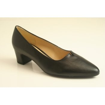 Gabor black nappa leather court shoe  (NT68)