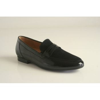 Gabor black patent and suede leather slip on shoe   (NTB)