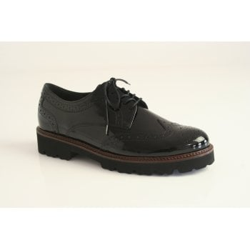 Gabor Black patent leather lace up brogue   (NT65)
