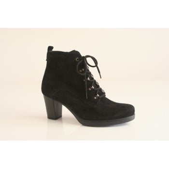Gabor black suede leather lace-up ankle boot.  (NTB58)