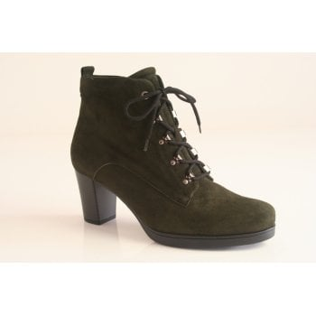 Gabor bottle green suede leather lace-up ankle boot.  (NTB56)