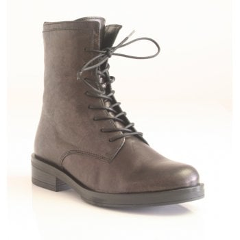 Gabor Metalic Black Lace up High-Top  Ankle Boot (NT B71)