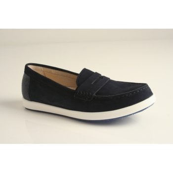 Gabor moccassin style blue leather penny loafer (NT78)