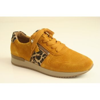 Gabor mustard suede and leather hybrid trainer   (NT69)