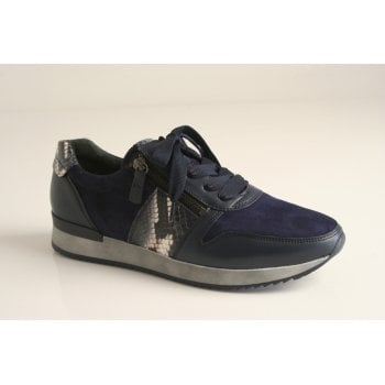 Gabor navy suede and leather hybrid trainer  (NT67)