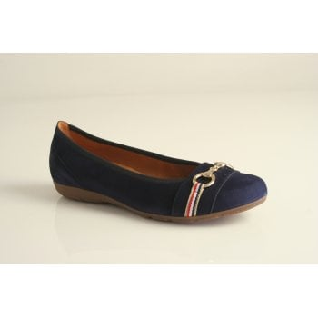 Gabor navy suede leather ballerina  (NT72)