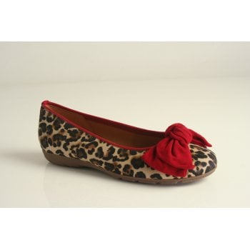 Gabor red printed leather ballerina  (NT89)