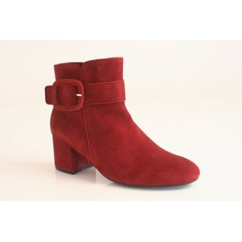 Gabor red suede ankle boot.  (NTB16)