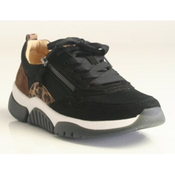 Gabor 'Rolling Soft' Black, tan & Leopard Print Luxe Trainers (NT 230)