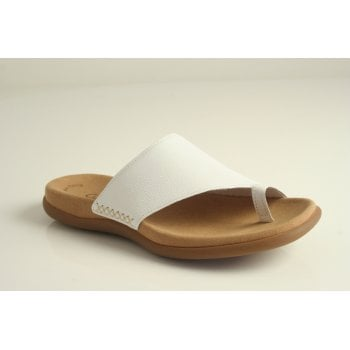 "Gabor sandal style ""Lanzarote"" in white grained leather.  (NT97)"