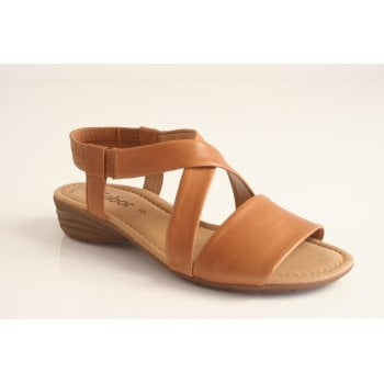Gabor style 'Ensign' cognac tan leather cross over sandal