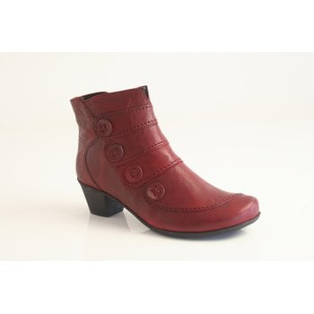 Gabor style 'Georgie' red leather short boot with interesting stitching details and a button trim