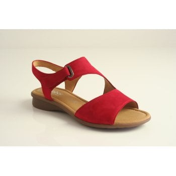 Gabor style 'Mostic' red leather sandal with an adjustable velcro fastening