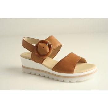 Gabor tan leather wedge sandal with buckle trim   (NT96)