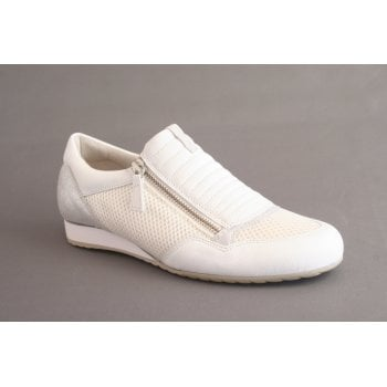Gabor trainer style in white leather and mesh with zip  (NT8)
