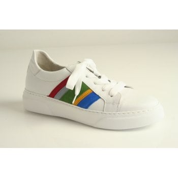 Gabor trainer style in white leather with rainbow trim  (NT84)