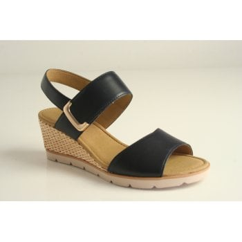 Gabor wedge sandal in midnight blue leather  (NT99)