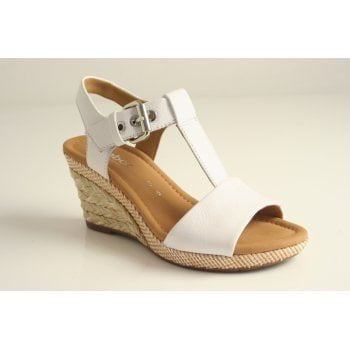 Gabor wedge sandal in white leather  (NT5)