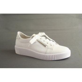 Gabor white leather trainer style with lace and zips  (NT203)
