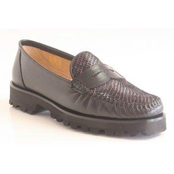 HB Black Leather With Pink/Purple Snakeprint Slip-On Moccasin (NT 61)