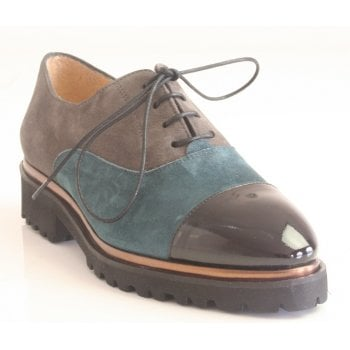 HB Black Patent Taupe & Grey Suede Lace-Up Shoe (NT 60)