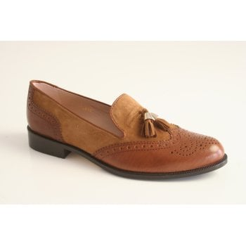HB Espana tan leather  brogue with suede detail