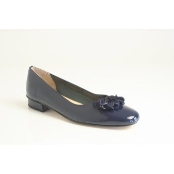 "HB H.B style ""Jest"" in soft navy blue patent leather with leather bobble trim (NT6)"
