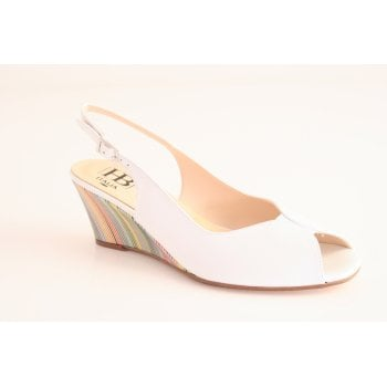 HB H.B. White Leather sling back, open-toe wedge  (NT22)
