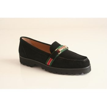 HB Italia Black suede loafer with green/red detail (NT38)