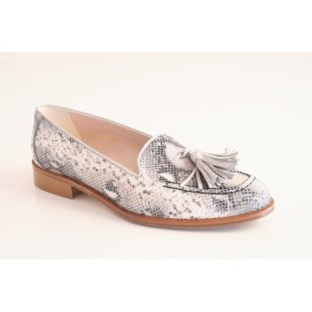 HB Italia leather loafer in white snakeskin (NT24)