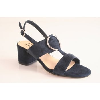 HB Italia suede t-bar dress sandal in navy (NT28)