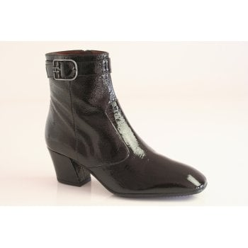 Hispanitas Hispanitas™ black patent leather ankle boot with a buckle trim   (NT76)
