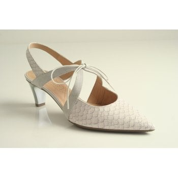 Hispanitas Hispanitas™ pearl white and grey shoe with a sling back   (NT70)