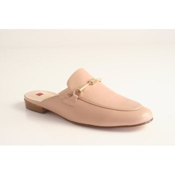 Hogl nude leather slip on mule with a gold chain trim