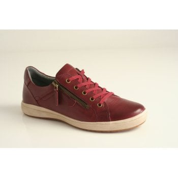 "Josef Seibel Joseph Siebel style ""Caren 12"" bordo leather lace-up and zip shoe."