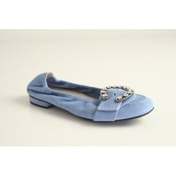 Kennel & Schmenger Kennel and Schmenger pale blue suede pump with buckle trim