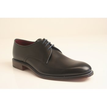 "Loake design ""Drake"" black leather lace-up with blue contrast edging and goodyear welted sole"
