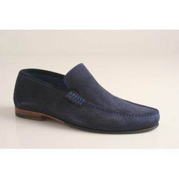 Loake design 'Nicholson' navy blue suede leather moccasin