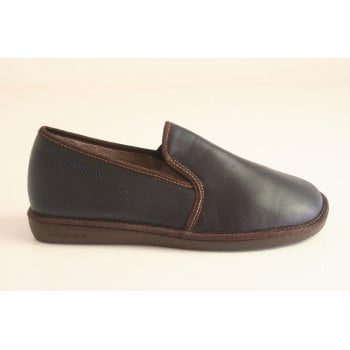 Nordika's Nordika 'Dublin' Navy and and Brown Mens Leather Full Slipper (NT 14)