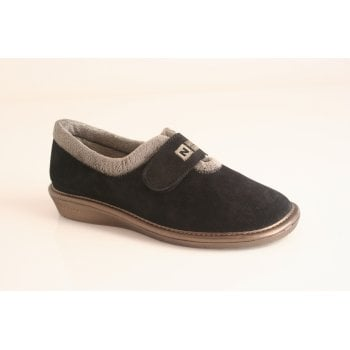 Nordika's Nordika style 6348-0/4  full slipper in soft black suede leather  with velcro fastening  (NT3)