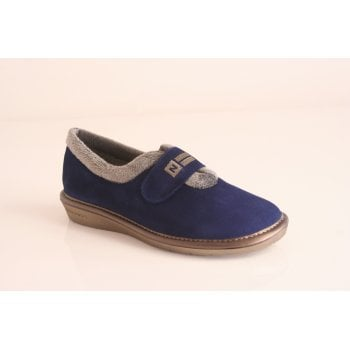 Nordika's Nordika style 6348-0/4  full slipper in soft indigo suede leather  with velcro fastening  (NT4)