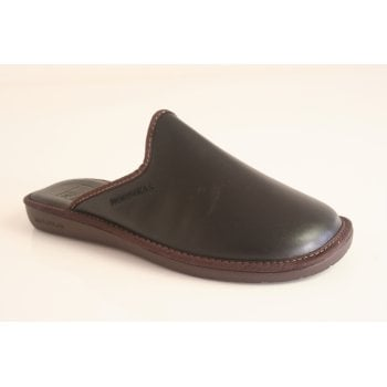 Nordika's Style 131 man's mule slipper in high grade black grained leather with indoor/outdoor flexible sole  ( NT11)