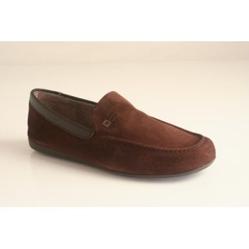 Nordika's Style 1390 moccasin style slipper in high grade moka brown suede leather  (NT12)