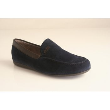 Nordika's Style 1390 moccasin style slipper in high grade navy blue suede leather  (NT14)