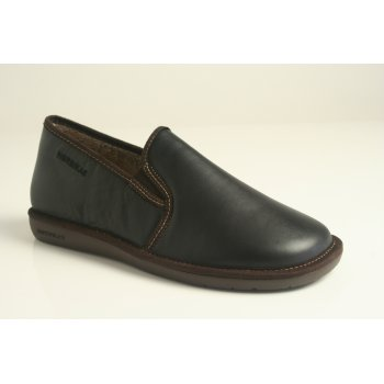 Nordika's Style 663 man's slipper in high grade black grained leather with indoor/outdoor flexible sole (NT12)